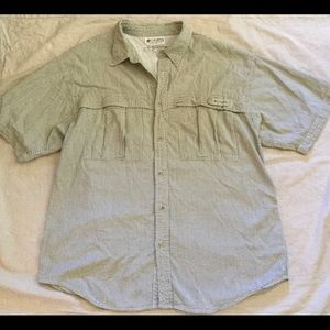 Colombia Green Seersucker Vented Shirt - size L